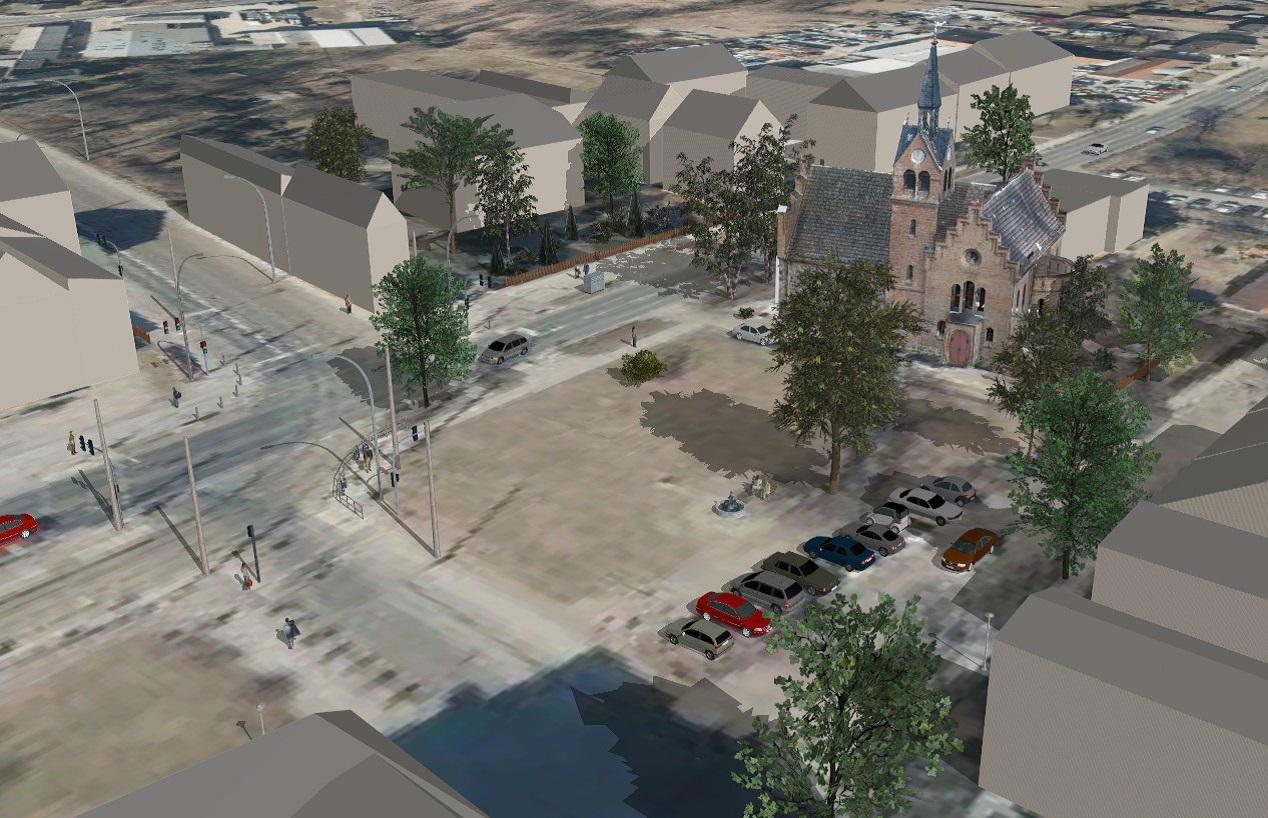Dorfkirche - vermaschte Laserscandaten in der interaktiven Umgebung von VIS-All 3D, ausgeschmückt mit Elementen der VIS-All 3D Modell