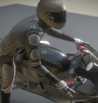3D-Model Motorbike and rigged driver with animations