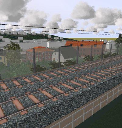 Zugverkehrs-Lärmschutzwand aus Metallelementen und Glas