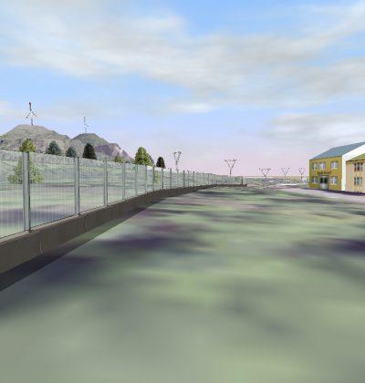 3D Visualisierung von modernster transparenter Lärmschutzwände aus Glas