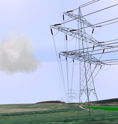 GIS-integrierte 3D-Visualisierung von Hochspannungsleitungen