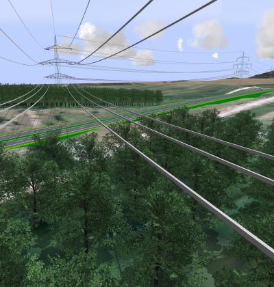 GIS-gestützte 3D-Visualisierung der Hochspannungstrasse