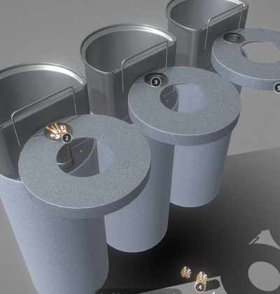 3D Modell - Stadtmoebel - Abfalleimer mit Aschenbecher - download - kaufen
