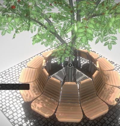 3D Modelle - Baumbank-Gartenbank-Rundbank-Parkbank mit Rowanbaum