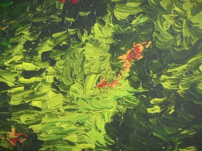 3D Model - Oil Painting - Green With Red And Golden Hidings - Texture