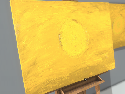 3D Model download- Oil Painting - Yellow Circle_Details2 - Texture
