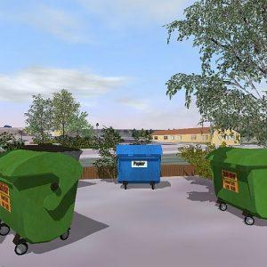 Detailliertes 3D-Modell: Müllcontainer für jeden Bedarf