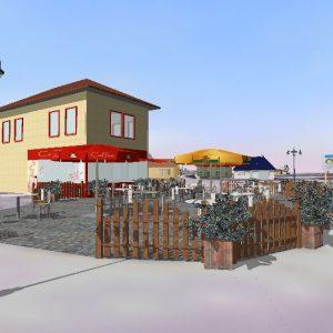 Digitales 3D-Stadtmodell: Cafe mit Oldtimer-Straßenlampen