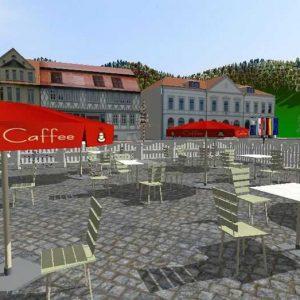 3D-Visualisierung von Stadtmodellen: Cafè am Marktplatz