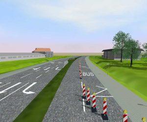 Moderne Strassenplanung: Bushaltestelle mit Baustellenmarkierung