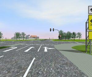 Moderne Strassenplanung: Kreuzung - Ampel mit Vorfahrt gewähren Schild