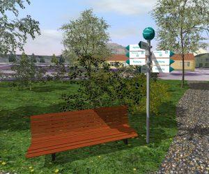 Detailliertes 3D-CAD-Modell: Parkbank, Wegweiser