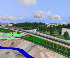 Moderne Strassenplanung - Ortsdurchfahrt: Kreisverkehr und Brücke