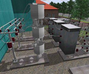 Professionelle 3D Freiluft-Mittelspannungsanlage