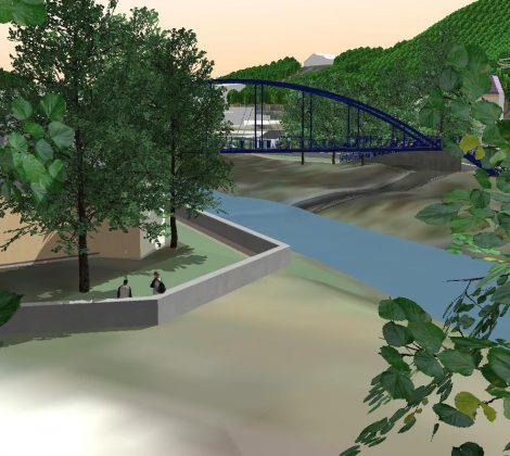 Überschwemmungsgefahr einer Stadt am Flussufer