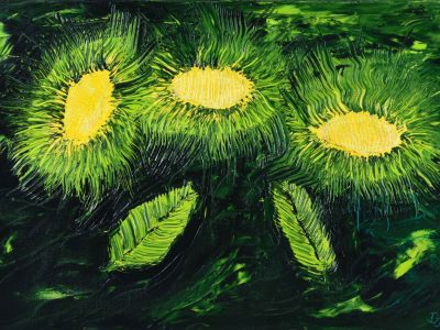 Three Flowers - Oil Painting - 3D Model download