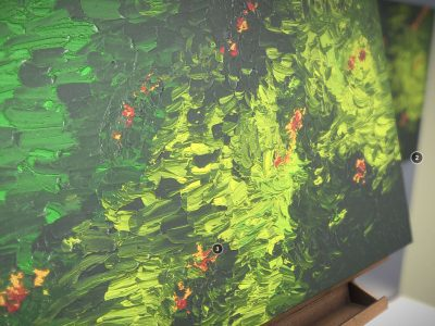 Oil Painting - Green With Red And Golden Hidings - 3D Model - Texture
