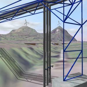 3D-Visualisierung von städtischen Wärmelieferung: Rohrleitungsbrücke