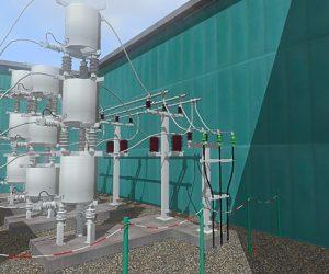Interaktive detaillierte 3D-Visualisierung einer Freiluft-Mittelspannungs- Station